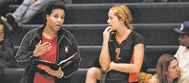BSHS volleyball coach Jan Madlock, here with senior Cassady Holloway, led the Braves to victories in 10 of their last 12 to conclude her first year with the team.