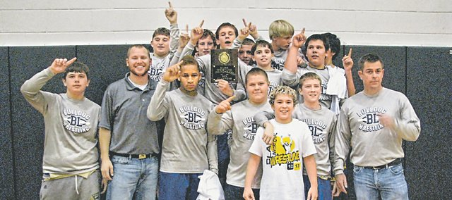 The BLMS wrestling team won nine of 10 medal-round matches to win the Robert E. Clark Middle School Wrestling Invitational last week.