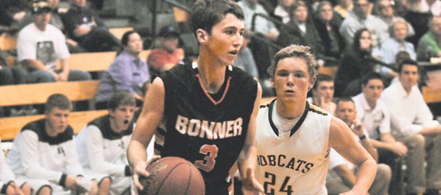 BSHS senior Austen Twombley scored 13 points in Tuesday's 65-48 loss at Basehor-Linwood. Senior Tyler Howell led the Braves with 16 points, including a dunk in transition that opened the game 4-0 in favor of the Braves.