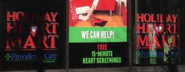 The Holiday Heart Mart, a free heart screening service, is being offered at Providence Care at The Legends in the Legends Outlets Kansas City shopping center.