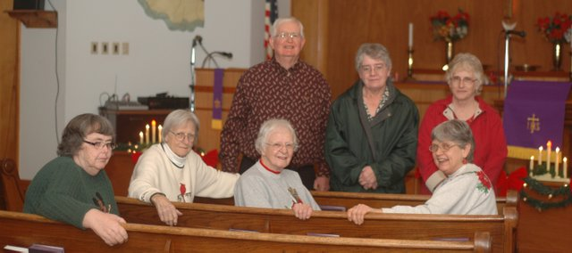 Some members of Jarbalo United Methodist Church, seated, from left, Elaine Onasch, Thamar Barnett, Frances Jeannin and Marilyn Oxley; back row, Rev. Larry Grove, Faye Cleavinger and Christine Black.