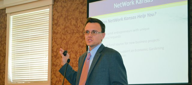 Corey Mohn of Shawnee, an official for NetWork Kansas, addresses the Shawnee chamber.