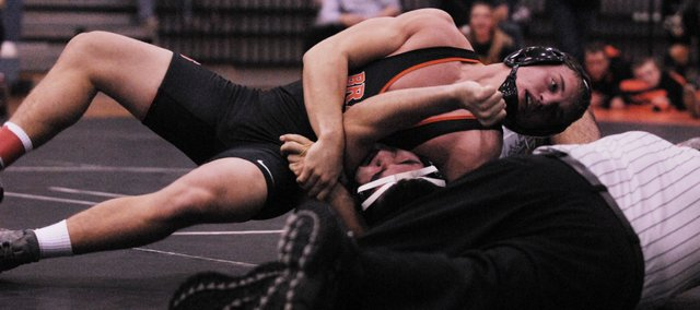 BSHS senior Jonathan Blackwell won all three of his matches by pin to win the 152-pound championship at the Dick Burns Mat Classic on Jan. 5.
