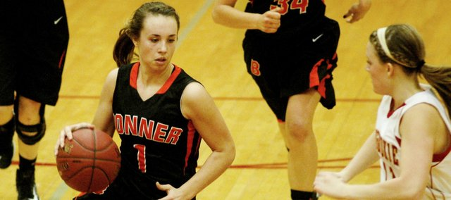 BSHS senior Haley Hoffine and the Braves girls basketball team suffered their first Kaw Valley League loss on Friday against Mill Valley.