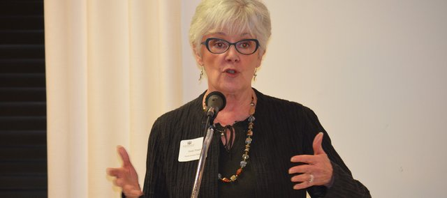 Kansas Insurance Commissioner Sandy Praeger addresses a Shawnee Chamber of Commerce crowd about federal health insurance reform.