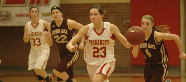 Jenny Whitledge brings the ball up the court in Tonganoxie's 53-47 loss to Silver Lake.
