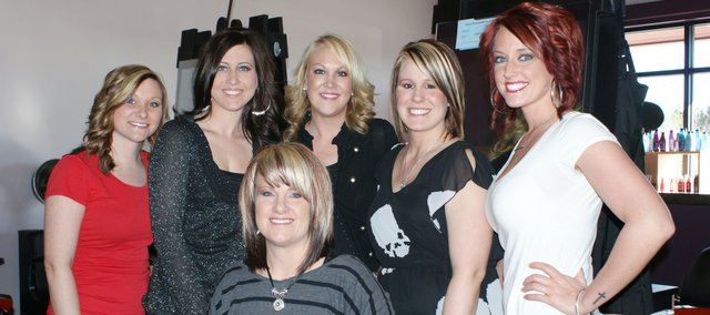 Mystic Salon owner Krista Lewandowski, seated, and her stylists, from left, Kelsey Stephens, Jennifer Pierce, Katie Kraemer, Kelsi McDowell and Christina Sutlick offer full salon services.