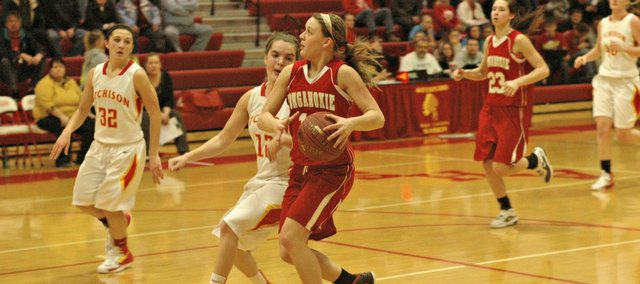Emily Soetaert was one of three THS players to reach double figures, but the Chieftains couldn't end their losing streak Friday at Atchison.