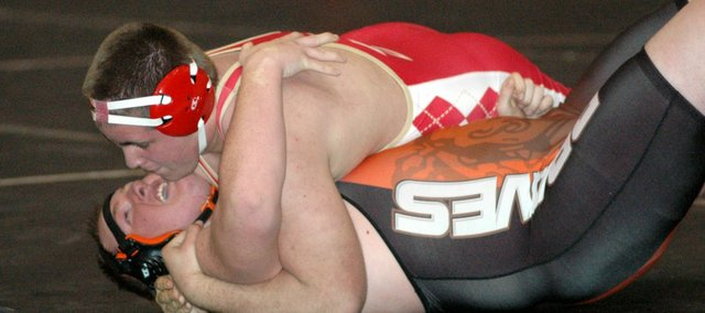 Zeke Kissinger had Tonganoxie's only pin of the night in a 34-27 dual win at Bonner Springs.