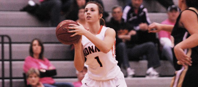 BSHS senior Haley Hoffine hit all six of her fourth-quarter free throws and scored 14 points — as did senior Anna Deegan — in the Braves' 56-43 win against Bishop Ward on Friday, Feb. 1.