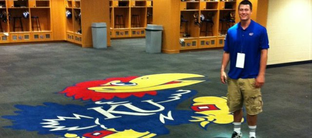New KU tight end Ben Johnson, of Basehor-Linwood High, in the Jayhawks&#39; locker room during a recent visit.