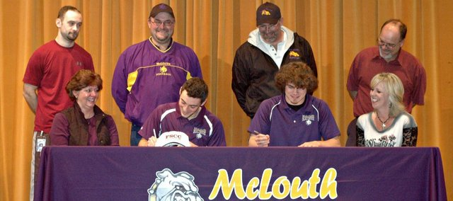 McLouth High seniors Marc Walbridge (front, second from left) and Dakota Cop (front, second from right) have signed national letters of intent to play college football. Walbridge signed with Fort Scott Community College, while Cop signed with Garden City Community College.