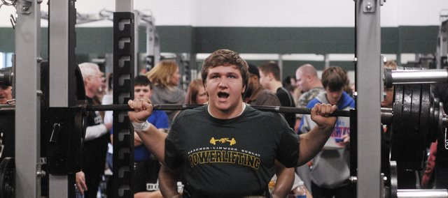 Bret Fritz competes in the squat at the 2013 Bobcat Power Invitational at BLHS on Saturday, Feb. 9. Stay tuned for full results.