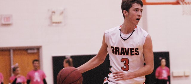 BSHS senior Austen Twombley led the Braves with 17 points in a 43-42 win against Basehor-Linwood on Friday, Feb. 9.