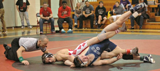Wrestlers from 14 schools have made their way to Tonganoxie High for Class 4A regional tournament action. The tournament begins at 2 p.m. today and will conclude Saturday.