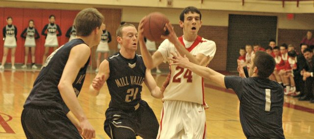 John Lean and the Tonganoxie High boys were unable to crack Mill Valley's defense on Tuesday.