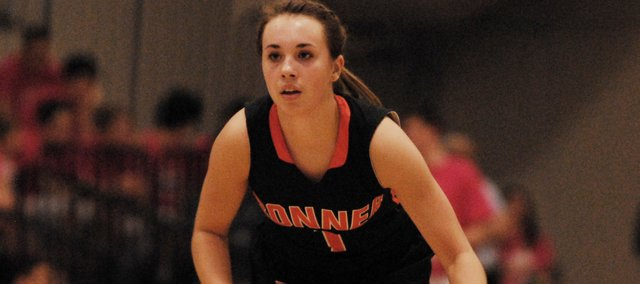 Haley Hoffine, shown here in a file photo, was one of four Braves to hit double figures in a 71-47 win at Bishop Ward on Tuesday, Feb. 19.