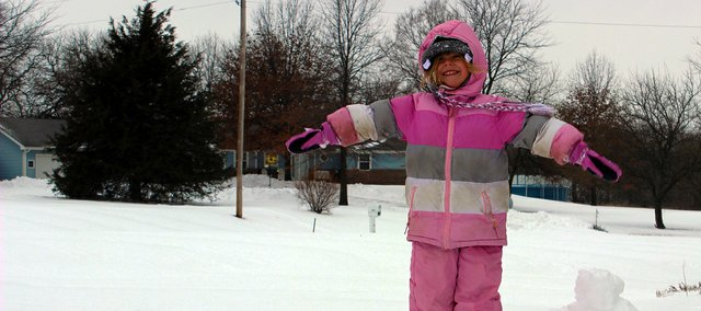 Tracey Kite's daughter, Amanda, played in the snow all day yesterday. Amanda is a kindergartener at BES.