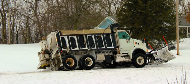 Plows worked for 18 hours straight Feb. 21 to clear, sand and salt Basehor roads after 11 inches of snow fell.