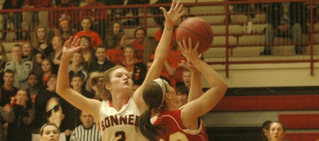Anna Deegan was one of three Braves to foul out in the team's season-ending loss Friday at Tonganoxie.