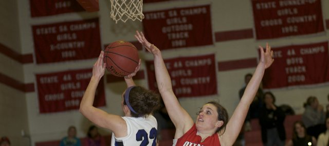 Katie Jones goes up for two of her game-high 24 points in Baldwin's 47-43 victory Friday against Ottawa.