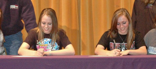 McLouth High seniors Taylor Pope and Alex Adams will continue their softball careers next season at Kansas City Kansas Community College.