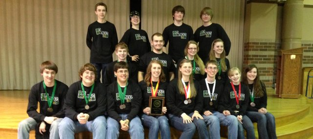 Members of this year's Tonganoxie High School Science Olympiad team had a strong showing at its regional meet Feb. 20 at Johnson County Community College, qualifying for the state meet, which will take place in April in Wichita. Team members are, front row, from left, Evan Stilgenbauer, Jon Irwin, Austin Harris, Paige Lauri, Katelyn Waldeier, Ben Jacobs, Halston Field and Celeste Bartels; middle row, from left, Garrett French, Tyler Fraedrich, Danielle Irwin and Megan Briggs; back row, from left, Spencer Finkbiner, Jake Tollefson, Jake Griffin and Sean Ketchum.