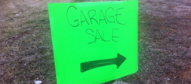 Garage sale season is starting, as evidenced by this sign posted Saturday in Tonganoxie. Cynthia Ewer, editor of organizedhome.com, has some pointers for folks thinking about having a yard sale.