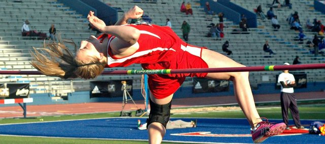 Junior Haley Griffin is one of three returning state qualifiers on the Tonganoxie High track and field team. Griffin finished second in the high jump at last year's state meet behind teammate Jenny Whitledge.