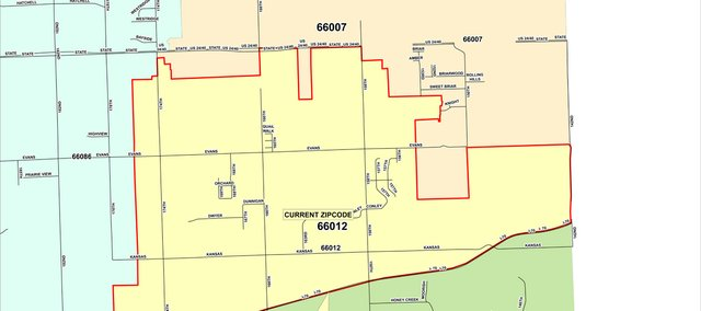 This map shows Basehor's current ZIP code boundaries, with some areas technically in Bonner Springs. Realignment would ensure all Basehor residences and businesses have a Basehor ZIP code.