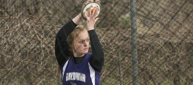 Baldwin sophomore Jordan Hoffman readies for a throw in the discus competition at Monday's Baldwin Invitational Track Meet. She was second in the event to teammate Katie Kehl. Hoffman also won the javelin at the meet.