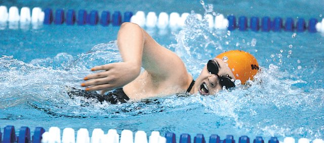 Robyn Lewis broke a pair of school records and qualified for state in the Bonner Springs girls swimming team's first meet of the season. Since then, the Braves have qualified for five events and earned state-consideration times in six others.