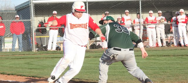 THS senior Cody Saladin scored two runs in the Chieftains' 6-5 win against Basehor-Linwood on Friday.