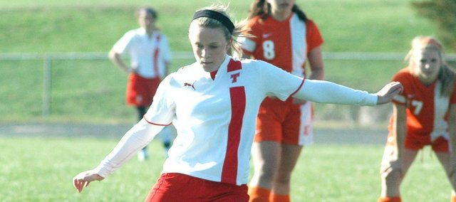 Emily Soetaert scored three goals Friday against Bonner Springs, including the game-winner in overtime.