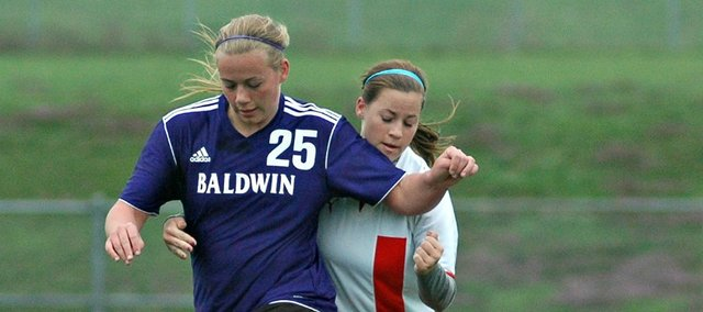 Jessie Katzer scored twice in Baldwin's 3-2 win Monday at Tonganoxie.