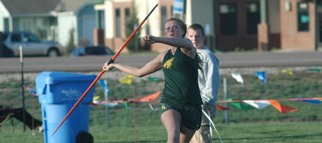 Victoria smith placed second in the girls javelin throw at Friday's Tonganoxie Invitational.