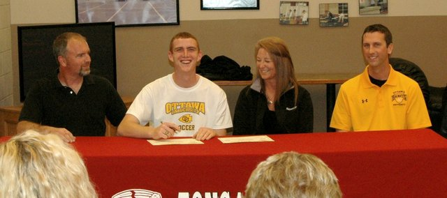 Senior Zack Tallent, a three-year captain of the Tonganoxie High soccer team, will continue his career next season at Ottawa University.