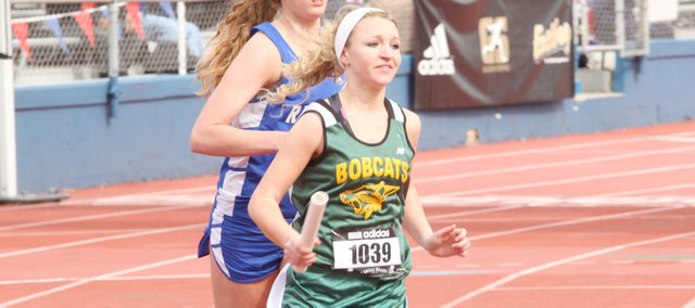 Quinn Walcott was part of Basehor-Linwood's school-record girls sprint medley relay team, which set the new school mark of 4:41 on Saturday at the Kansas Relays in Lawrence.