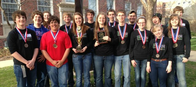 Members of the Tonganoxie HIgh School Science Olympiad team are, front row, from left, Jake Griffin, Austin Harris, Paige Lauri, Katelyn Waldeier, Ben Jacobs, Danielle Irwin, Halston Field and Megan Briggs; back row, from left, Jon Irwin, Celeste Bartels, Sean Ketchum, Evan Stilgenbauer, Spencer Finkbiner, Tyler Fraedrich, Jacob Tollefson and  Garrett French.