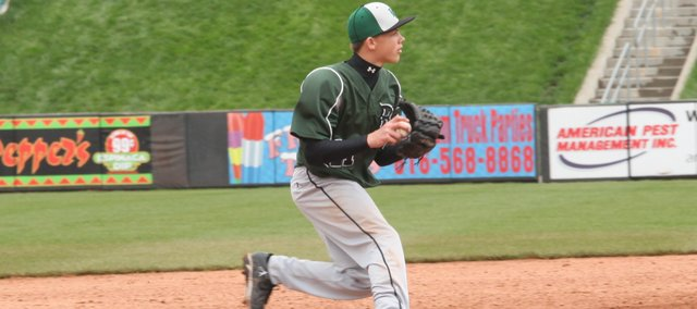 BLHS freshman Brock Gilliam turned two double plays with first baseman Seagar Smith and went 3-for-4 in his BLHS debut at the Butch Foster Memorial Baseball Classic on Saturday. The Bobcats defeated Tonganoxie, 12-5, to place seventh in the tournament.