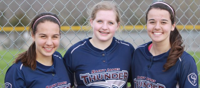 Caroline, Gabrielle and Machaela Geither are each on the same varsity teams this spring. They are once again together on the same softball team, this time taking the field for St. James Academy.