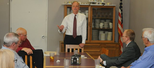 Sen. Jerry Moran addresses the Baldwin City Rotary Club on Wednesday at the Harter Union on the Baker University campus. Moran addressed his vote to uphold the filibuster on the expansion of background checks for gun sales, regulatory effects on Kansas banks and the farm bill.