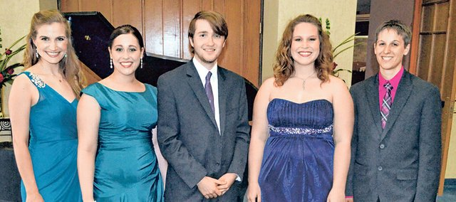 The five young adults who performed a special concert at Good Shepherd Catholic Church last Wednesday were, from left, Olivia Betzen, Cassie Banion, Andrew Morris, Kirsten Hyde and Jessica Freyermuth.