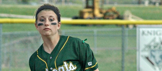Asia Larsen threw a complete-game shutout Tuesday at Tonganoxie. The Bobcats split a doubleheader with the Chieftains.