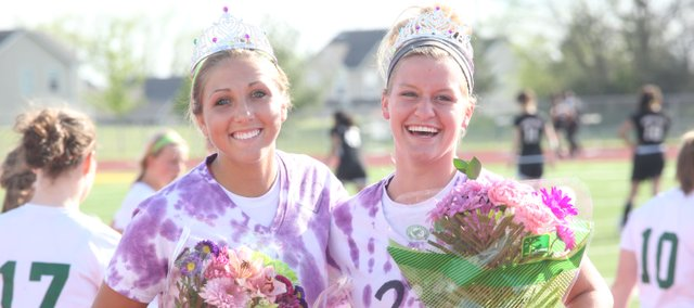 Longtime friends and teammates, BLHS seniors Samantha Rutherford, left, and Kara Stephens were honored in a senior night ceremony before their girls soccer team defeated Bishop Ward, 4-0. Stephens scored two goals and Rutherford also scored. Stay tuned for more on basehorinfo.com and in the May 16 issue of The Sentinel.