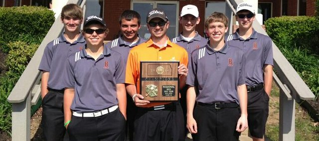 The Bonner Springs boys golf team won its Class 4A regional tournament at Cypress Ridge in Topeka on Monday. Pictured, from left to right: Marc McClain, Jake Laing, Matt Call, BSHS coach Steve Miller, Steven Greer, Jason VanMaren and Tristan Abts.