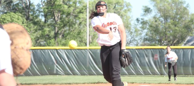 BSHS senior Geena Harris struck out five batters in a 9-5 BSHS victory against BLHS on Tuesday in the Class 4A softball regional semifinals in Eudora. The Braves fell, 10-0, to De Soto in the regional final.