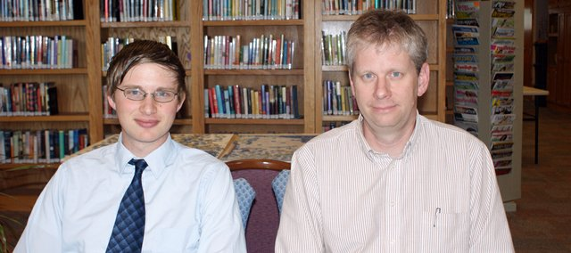 Chris Bohling, left, took over as Linwood Library director this week. Former director Dave Hanson, right, has decided to retire.