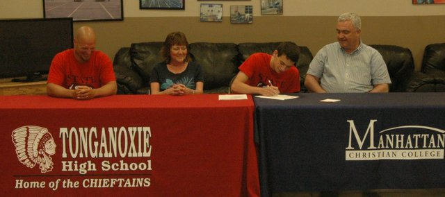 Tonganoxie High grad John Lean, second from right, will continue his soccer career this fall at Manhattan Christian College.