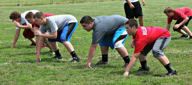 Offensive linemen work on a drill during this week's Tonganoxie Middle School team camp. Pictured, from left, are Joseph Derzinski, Grant Fosdick, Grayson Gilbert, Sammy Sigourney and Dylan Funk.